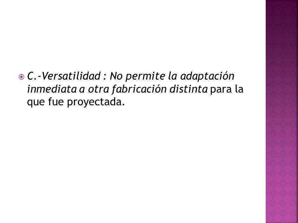 C.-Versatilidad : No permite la adaptación inmediata a otra fabricación distinta para la que fue proyectada.
