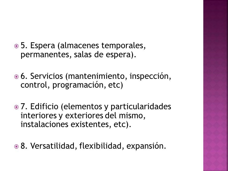 5. Espera (almacenes temporales, permanentes, salas de espera). 6. Servicios (mantenimiento, inspección, control, programación, etc) 7. Edificio (elem