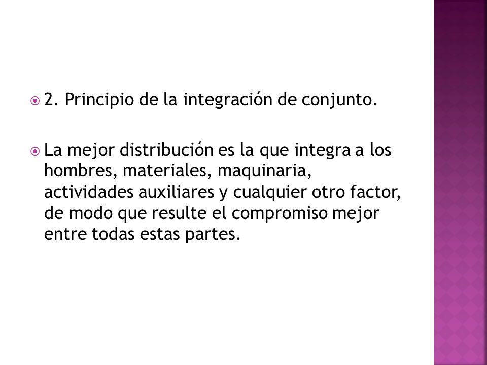 2. Principio de la integración de conjunto. La mejor distribución es la que integra a los hombres, materiales, maquinaria, actividades auxiliares y cu