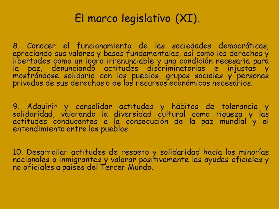 El marco legislativo (XI). 8. Conocer el funcionamiento de las sociedades democráticas, apreciando sus valores y bases fundamentales, así como los der