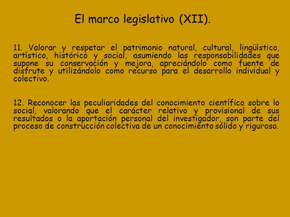 El marco legislativo (XII). 11. Valorar y respetar el patrimonio natural, cultural, lingüístico, artístico, histórico y social, asumiendo las responsa