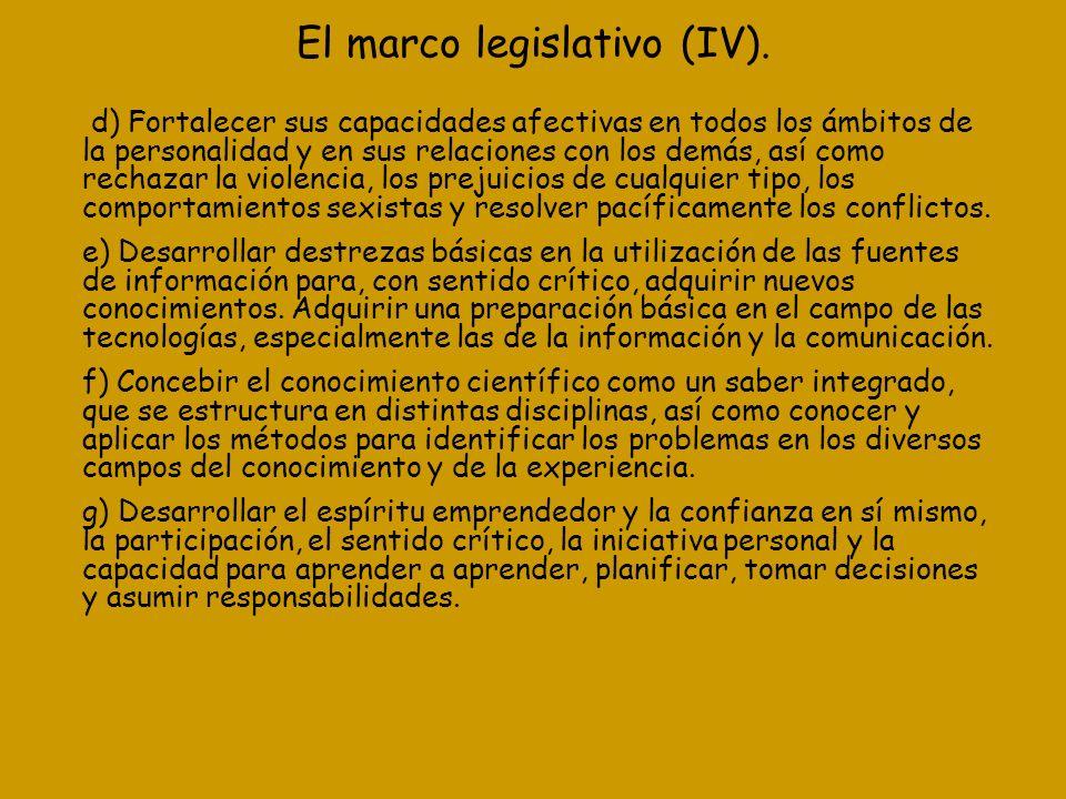 El marco legislativo (IV). d) Fortalecer sus capacidades afectivas en todos los ámbitos de la personalidad y en sus relaciones con los demás, así como
