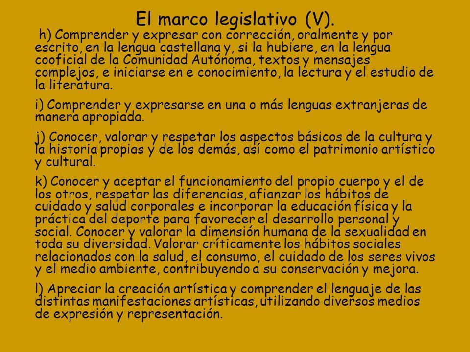 El marco legislativo (V). h) Comprender y expresar con corrección, oralmente y por escrito, en la lengua castellana y, si la hubiere, en la lengua coo