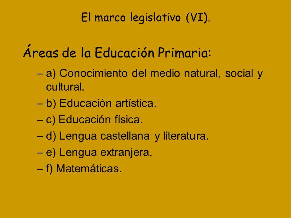 El marco legislativo (VI). Áreas de la Educación Primaria: –a) Conocimiento del medio natural, social y cultural. –b) Educación artística. –c) Educaci