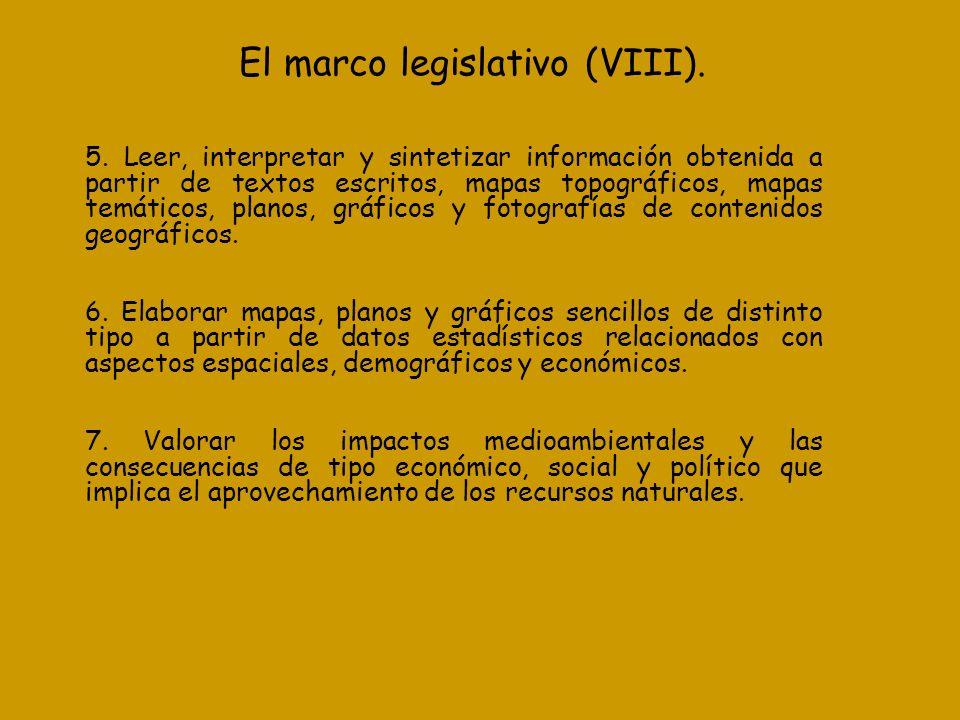 El marco legislativo (VIII). 5. Leer, interpretar y sintetizar información obtenida a partir de textos escritos, mapas topográficos, mapas temáticos,