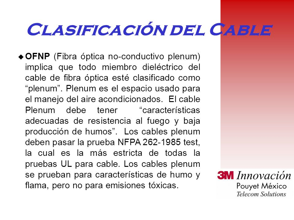Clasificación del Cable u OFNP (Fibra óptica no-conductivo plenum) implica que todo miembro dieléctrico del cable de fibra óptica esté clasificado como plenum.