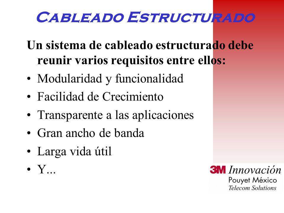Cableado Estructurado Un sistema de cableado estructurado debe reunir varios requisitos entre ellos: Modularidad y funcionalidad Facilidad de Crecimiento Transparente a las aplicaciones Gran ancho de banda Larga vida útil Y...