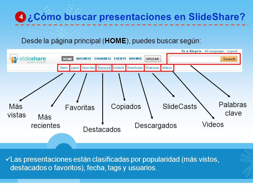 Las presentaciones están clasificadas por popularidad (más vistos, destacados o favoritos), fecha, tags y usuarios. ¿Cómo buscar presentaciones en Sli