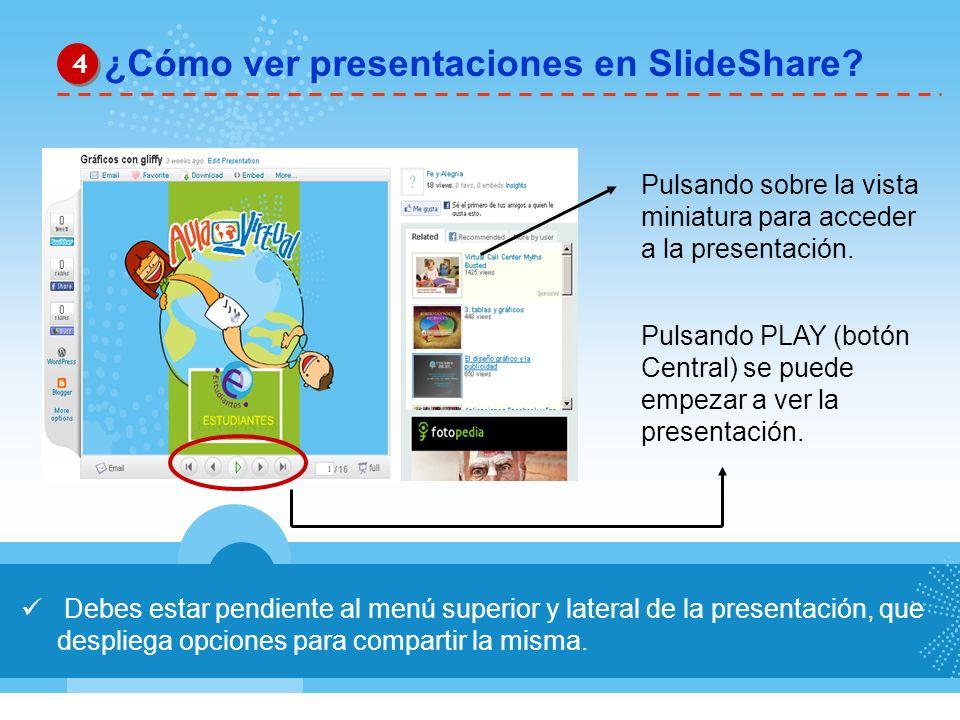 Debes estar pendiente al menú superior y lateral de la presentación, que despliega opciones para compartir la misma. ¿Cómo ver presentaciones en Slide