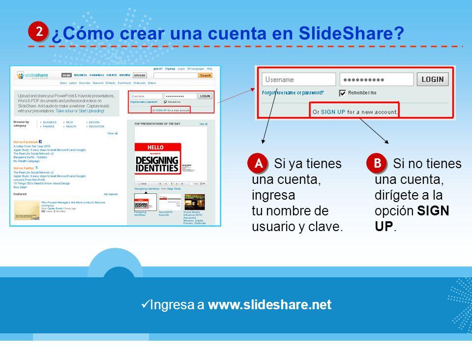 ¿Cómo crear una cuenta en SlideShare? 2 2 Ingresa a www.slideshare.net A A B B Si ya tienes una cuenta, ingresa tu nombre de usuario y clave. Si no ti