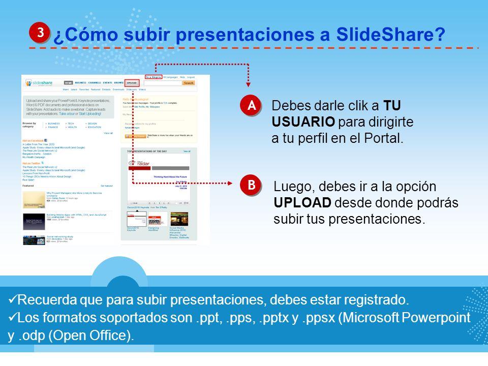 ¿Cómo subir presentaciones a SlideShare? Recuerda que para subir presentaciones, debes estar registrado. Los formatos soportados son.ppt,.pps,.pptx y.
