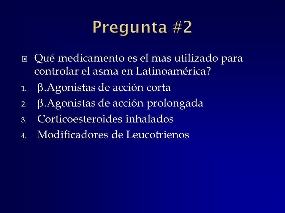 Qué medicamento es el mas utilizado para controlar el asma en Latinoamérica? 1..Agonistas de acción corta 2..Agonistas de acción prolongada 3. Cortico
