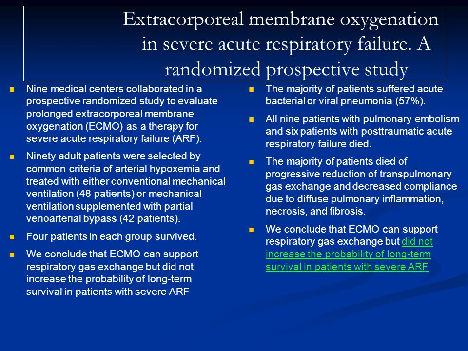 Nine medical centers collaborated in a prospective randomized study to evaluate prolonged extracorporeal membrane oxygenation (ECMO) as a therapy for