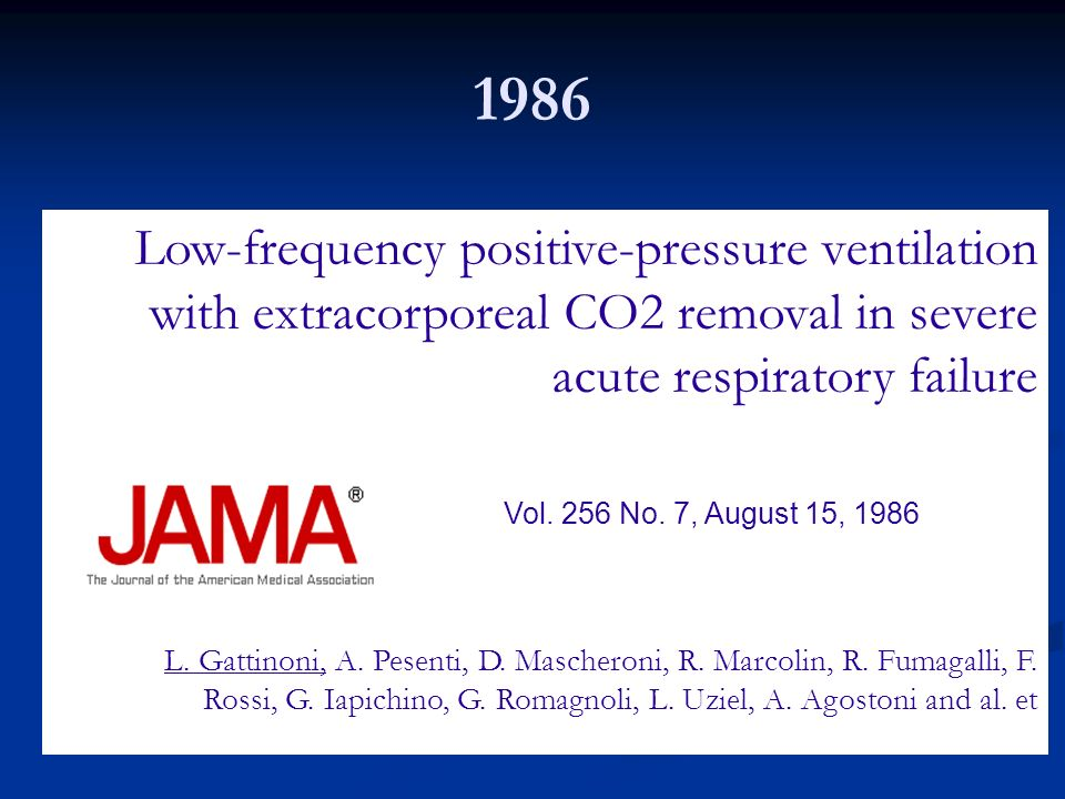 Low-frequency positive-pressure ventilation with extracorporeal CO2 removal in severe acute respiratory failure Vol. 256 No. 7, August 15, 1986 L. Gat
