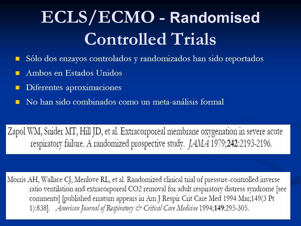 ECLS/ECMO - Randomised Controlled Trials Sólo dos enzayos controlados y randomizados han sido reportados Ambos en Estados Unidos Diferentes aproximaci