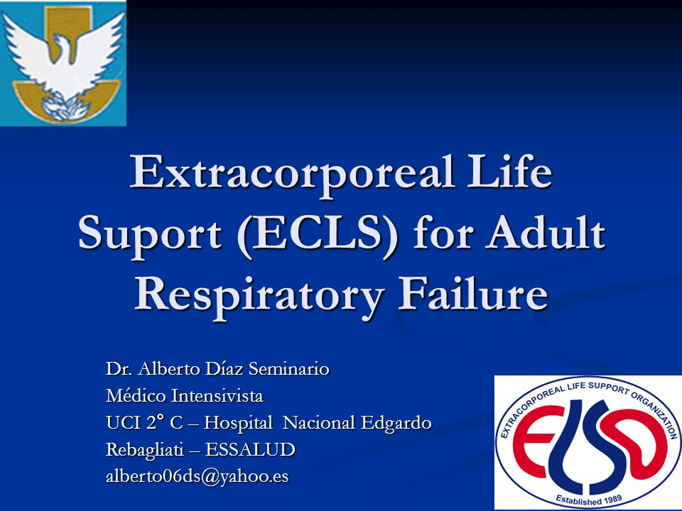 Extracorporeal Life Suport (ECLS) for Adult Respiratory Failure Dr. Alberto Díaz Seminario Médico Intensivista UCI 2° C – Hospital Nacional Edgardo Re