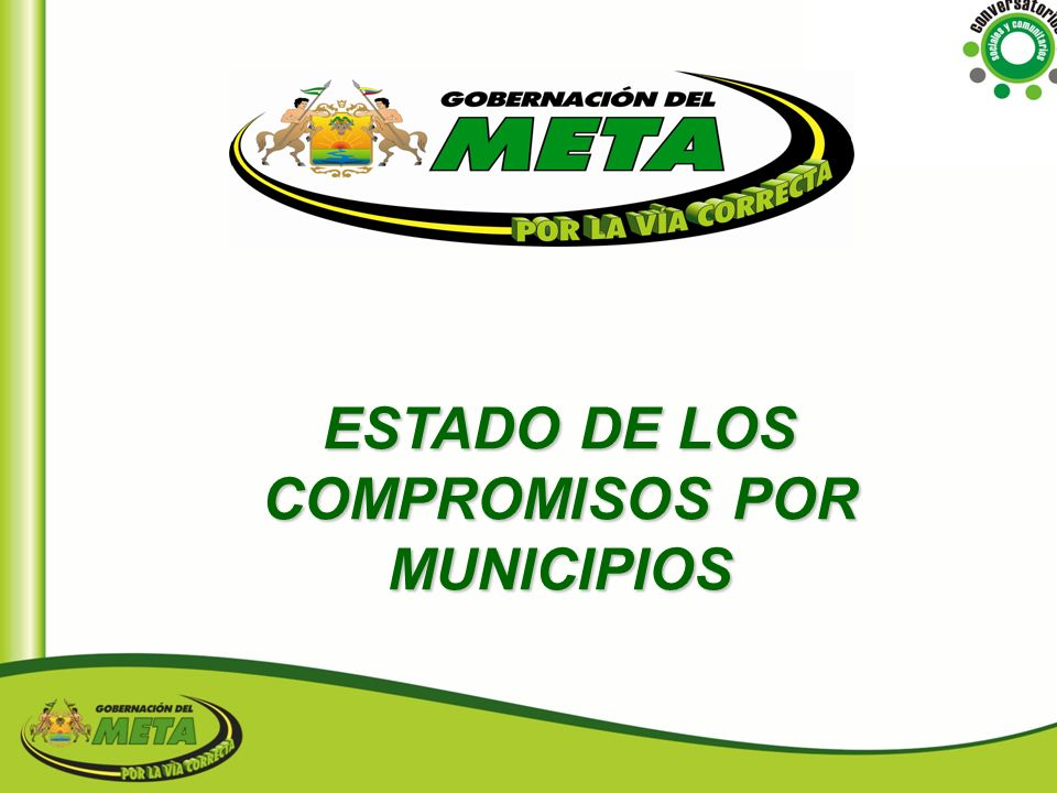MUNICIPIOTOTAL GOBERNACION337 ALCALDIA V/CIO61 ALCALDIAS M/PIOS10 CORPOMETA2 ENTIDADES NAL4 TOTAL COMPROMISOS414 PORCENTAJE DE COMPROMISOS POR ENTIDAD