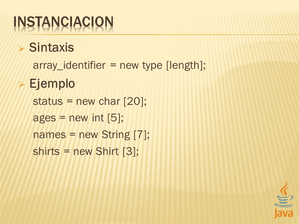 Sintaxis array_identifier = new type [length]; Ejemplo status = new char [20]; ages = new int [5]; names = new String [7]; shirts = new Shirt [3];