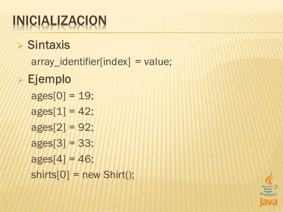 Sintaxis array_identifier[index] = value; Ejemplo ages[0] = 19; ages[1] = 42; ages[2] = 92; ages[3] = 33; ages[4] = 46; shirts[0] = new Shirt();