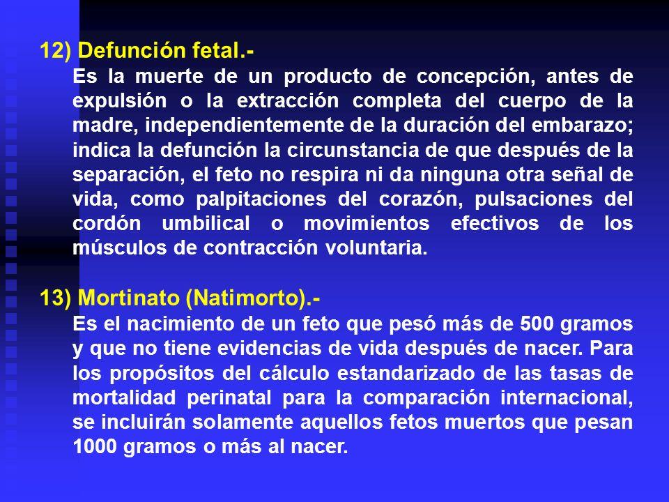 12) Defunción fetal.- Es la muerte de un producto de concepción, antes de expulsión o la extracción completa del cuerpo de la madre, independientement