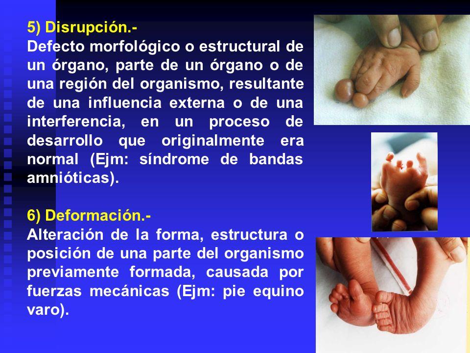 5) Disrupción.- Defecto morfológico o estructural de un órgano, parte de un órgano o de una región del organismo, resultante de una influencia externa