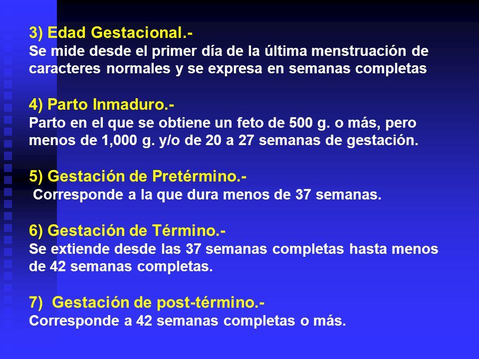 3) Edad Gestacional.- Se mide desde el primer día de la última menstruación de caracteres normales y se expresa en semanas completas 4) Parto Inmaduro