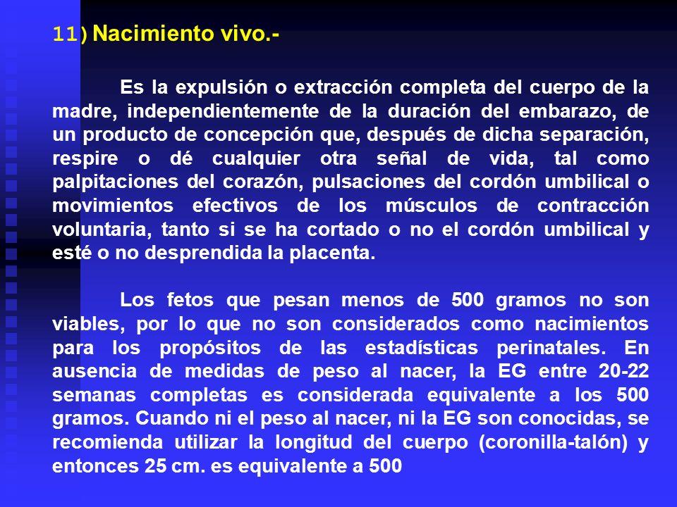 11)Nacimiento vivo.- Es la expulsión o extracción completa del cuerpo de la madre, independientemente de la duración del embarazo, de un producto de c