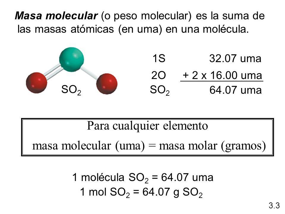 Masa molecular (o peso molecular) es la suma de las masas atómicas (en uma) en una molécula. SO 2 1S32.07 uma 2O+ 2 x 16.00 uma SO 2 64.07 uma Para cu