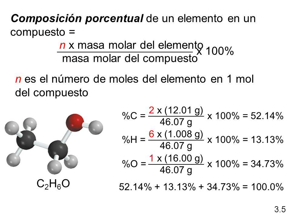 Composición porcentual de un elemento en un compuesto = n x masa molar del elemento masa molar del compuesto x 100% n es el número de moles del elemen