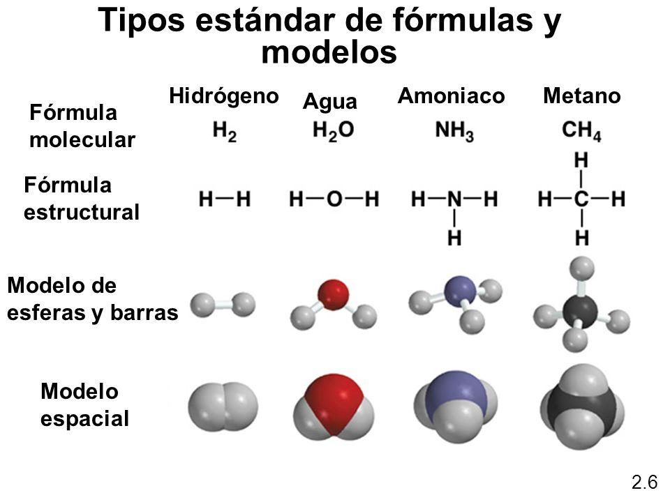 2.6 Tipos estándar de fórmulas y modelos Hidrógeno Agua AmoniacoMetano Fórmula molecular Fórmula estructural Modelo de esferas y barras Modelo espacia