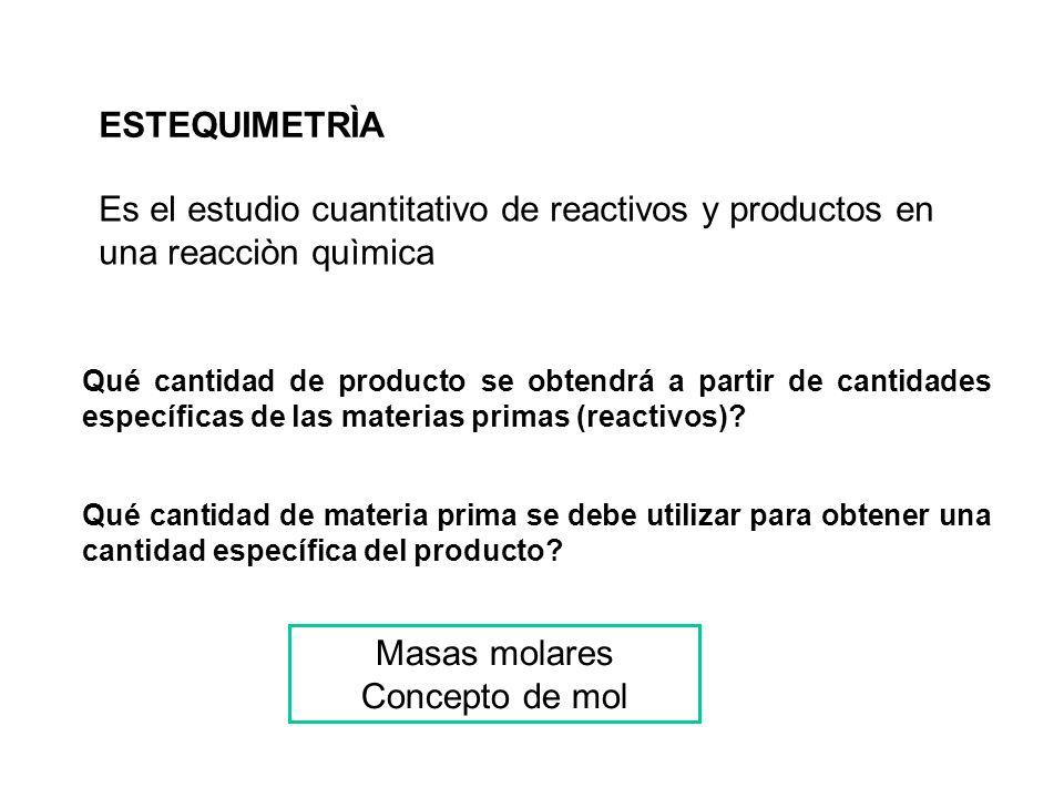ESTEQUIMETRÌA Es el estudio cuantitativo de reactivos y productos en una reacciòn quìmica Qué cantidad de producto se obtendrá a partir de cantidades