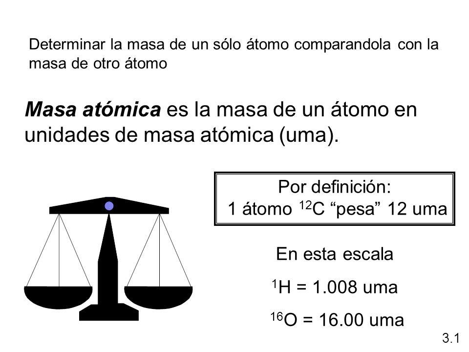 Por definición: 1 átomo 12 C pesa 12 uma En esta escala 1 H = 1.008 uma 16 O = 16.00 uma Masa atómica es la masa de un átomo en unidades de masa atómi