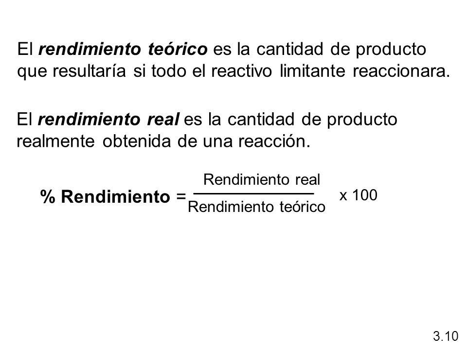 El rendimiento teórico es la cantidad de producto que resultaría si todo el reactivo limitante reaccionara. El rendimiento real es la cantidad de prod