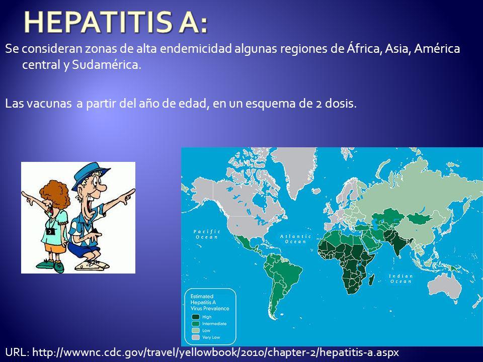 Se consideran zonas de alta endemicidad algunas regiones de África, Asia, América central y Sudamérica. Las vacunas a partir del año de edad, en un es