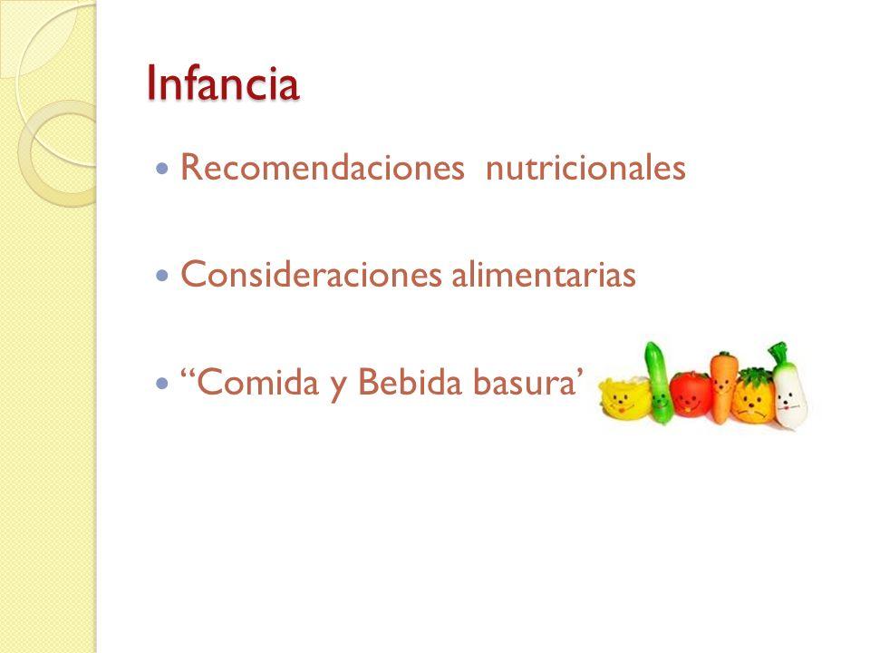 Recomendaciones Nutricionales A los dos años hay gran velocidad de crecimiento, aunque ya se observa una desaceleración de la misma.