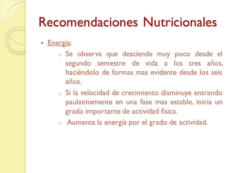 Recomendaciones Nutricionales Proteína: Mesesg/kg 0-6 meses2,2 g/kg 6-12 meses1,5 g/kg 1-3 años1,2 g/kg 1-8 años1 g/kg