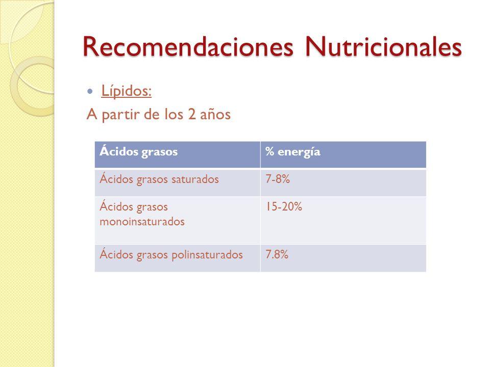 Recomendaciones Nutricionales Lípidos: o La dieta habitual suministra suficientes ácidos grasos esenciales y no hay que tomar ningún alimento ni preparados especiales, para cubrir aquella necesidad