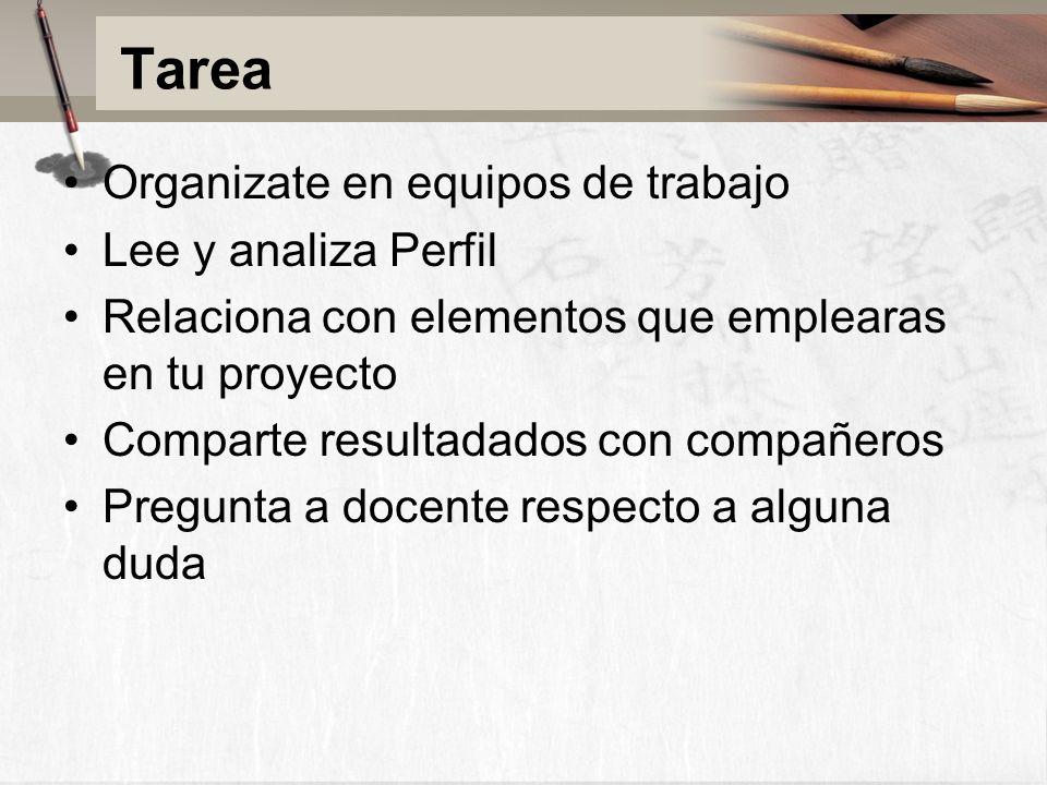 Tarea Organizate en equipos de trabajo Lee y analiza Perfil Relaciona con elementos que emplearas en tu proyecto Comparte resultadados con compañeros