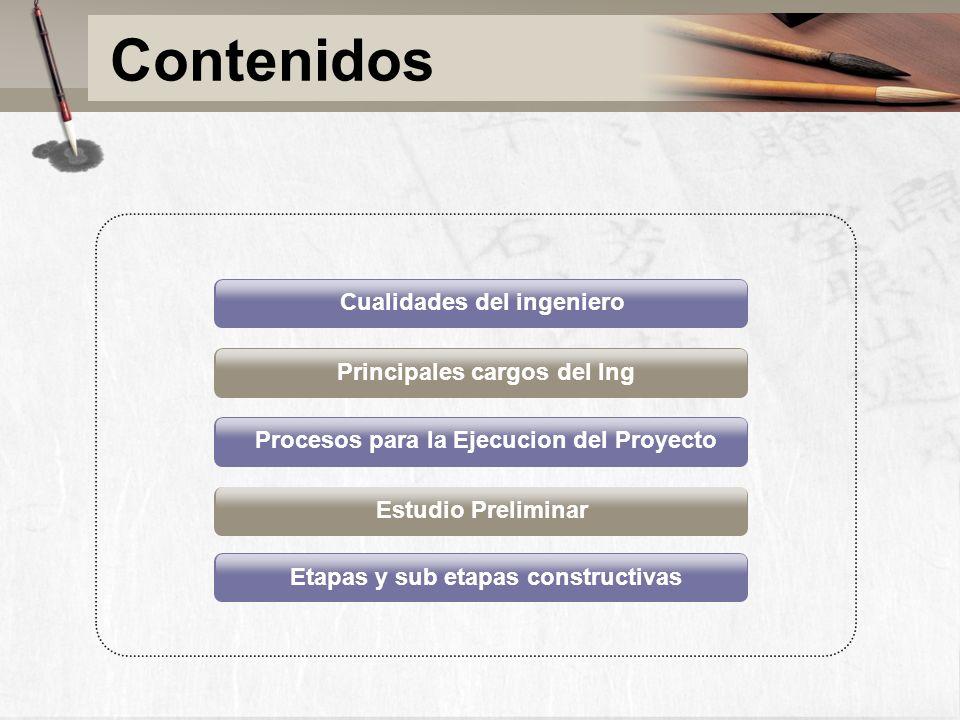 Principales cargos del Ing Procesos para la Ejecucion del Proyecto Estudio Preliminar Etapas y sub etapas constructivas Cualidades del ingeniero Conte