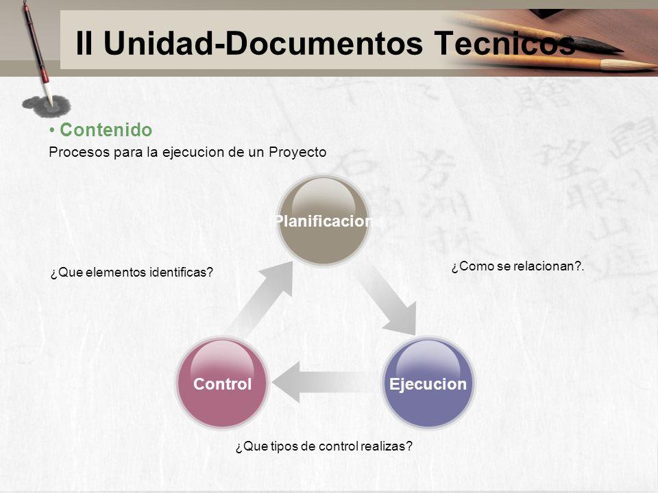 II Unidad-Documentos Tecnicos ¿Que elementos identificas? Planificacion EjecucionControl ¿Como se relacionan?. ¿Que tipos de control realizas? Conteni