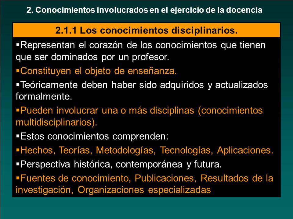2. Conocimientos involucrados en el ejercicio de la docencia 2.1.1 Los conocimientos disciplinarios. Representan el corazón de los conocimientos que t