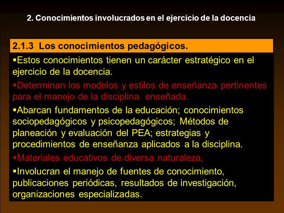 2. Conocimientos involucrados en el ejercicio de la docencia 2.1.3 Los conocimientos pedagógicos. Estos conocimientos tienen un carácter estratégico e