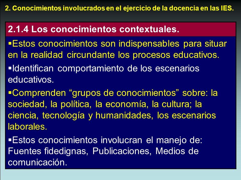 2. Conocimientos involucrados en el ejercicio de la docencia en las IES. 2.1.4 Los conocimientos contextuales. Estos conocimientos son indispensables