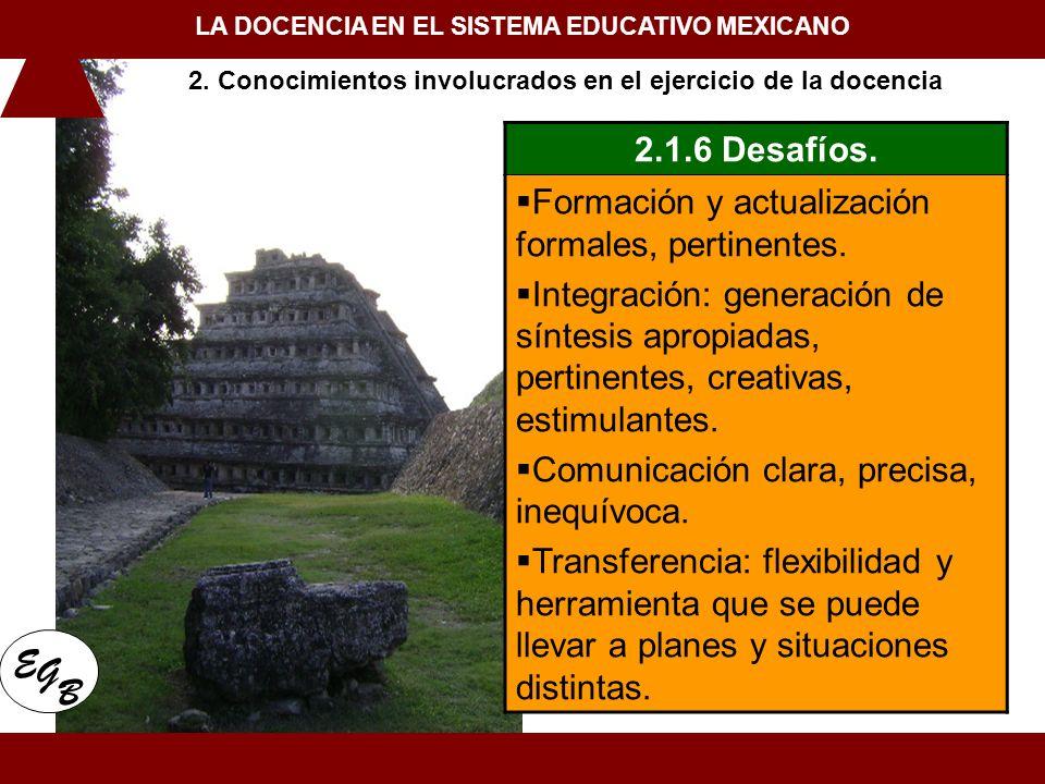 1. Conceptualización de la docencia en el Siglo XXI LA DOCENCIA EN EL SISTEMA EDUCATIVO MEXICANO E G B 2.1.6 Desafíos. Formación y actualización forma