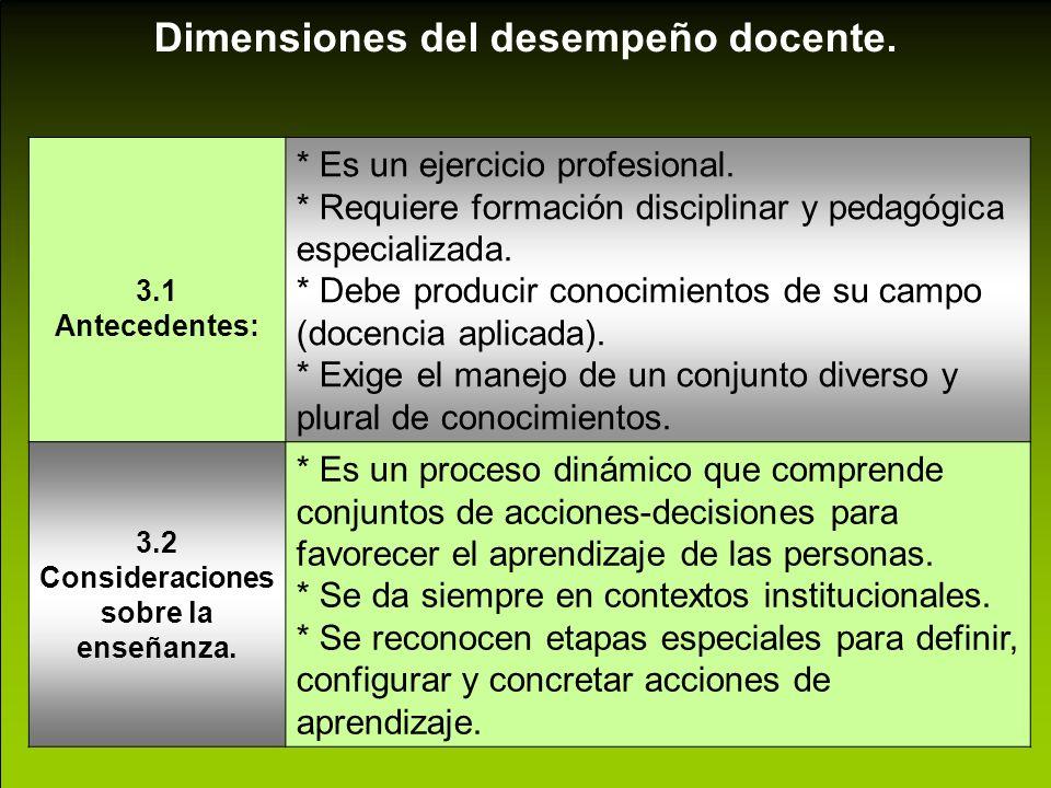 Dimensiones del desempeño docente. 3.1 Antecedentes: * Es un ejercicio profesional. * Requiere formación disciplinar y pedagógica especializada. * Deb