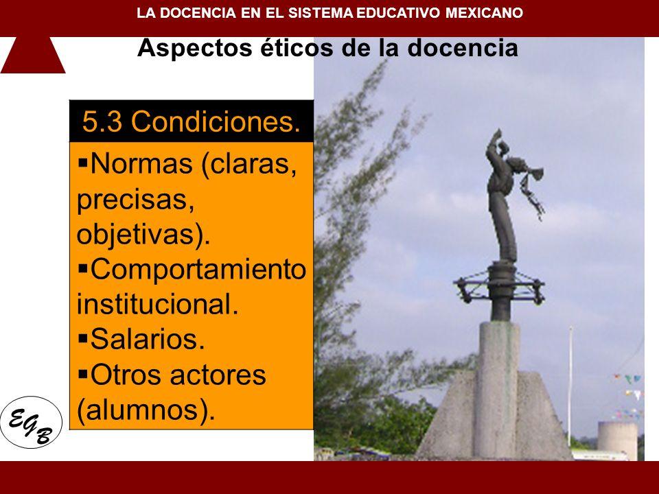 5.3 Condiciones. Normas (claras, precisas, objetivas). Comportamiento institucional. Salarios. Otros actores (alumnos). 1. Conceptualización de la doc