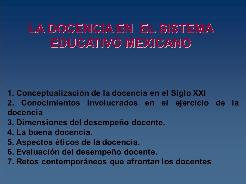 LA DOCENCIA EN EL SISTEMA EDUCATIVO MEXICANO 1. Conceptualización de la docencia en el Siglo XXI 2. Conocimientos involucrados en el ejercicio de la d