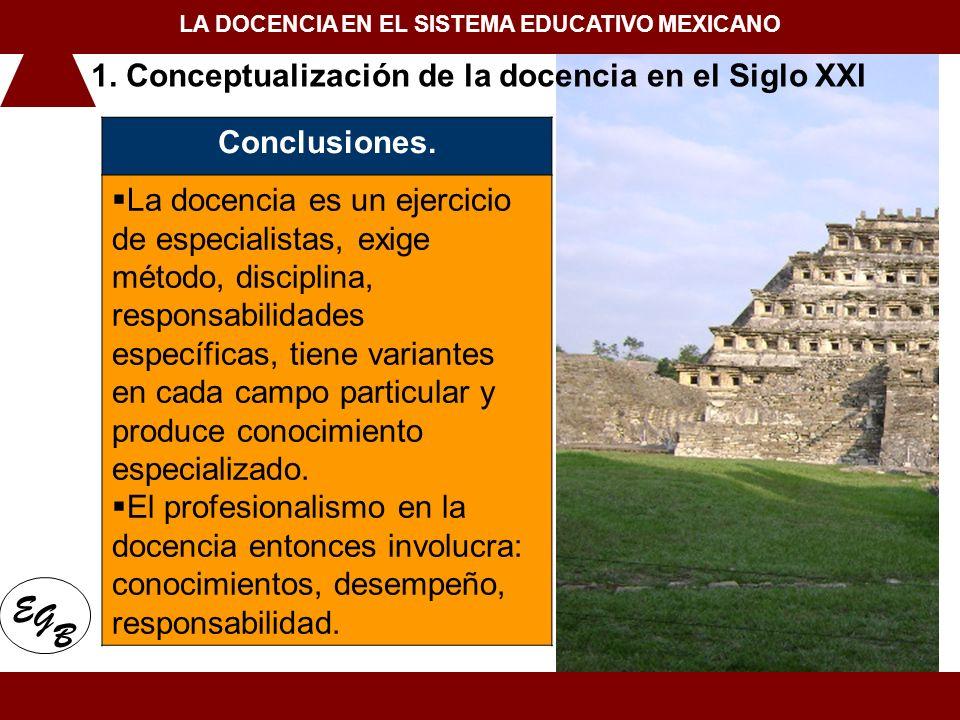 1. Conceptualización de la docencia en el Siglo XXI LA DOCENCIA EN EL SISTEMA EDUCATIVO MEXICANO E G B 1. Conceptualización de la docencia en el Siglo