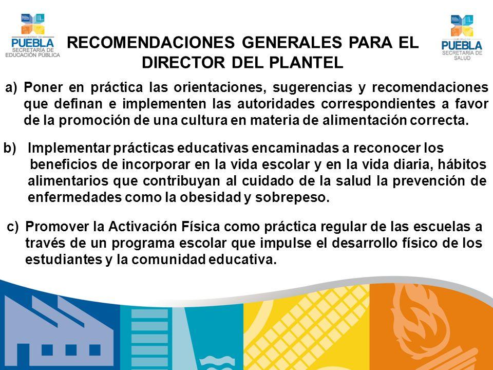 RECOMENDACIONES GENERALES PARA EL DIRECTOR DEL PLANTEL a)Poner en práctica las orientaciones, sugerencias y recomendaciones que definan e implementen