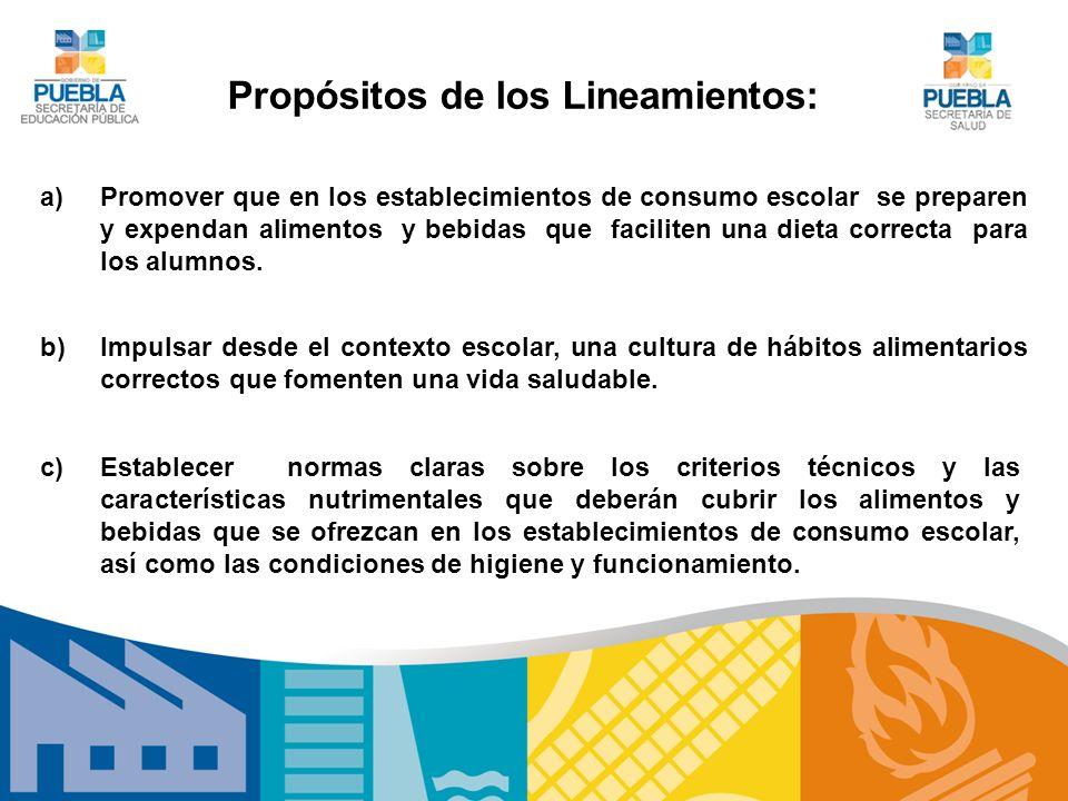 Propósitos de los Lineamientos: a)Promover que en los establecimientos de consumo escolar se preparen y expendan alimentos y bebidas que faciliten una